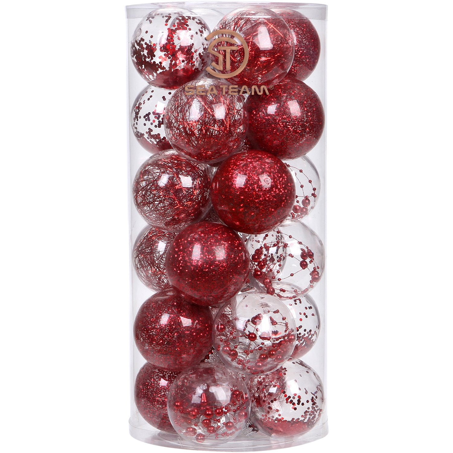Sea Team 70mm/2.76'' Shatterproof Clear Plastic Christmas Ball Ornaments Decorative Xmas Balls Baubles Set with Stuffed Delicate Decorations (24 Counts, Red)