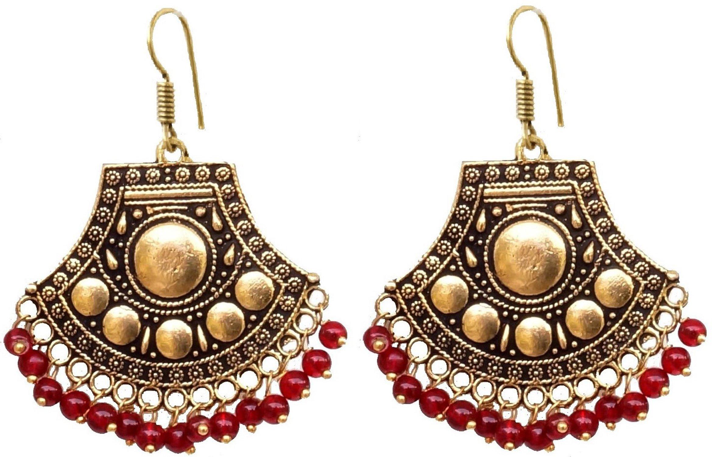 Sansar India Boho Oxidized Beaded Chandbali Indian Earrings Jewelry for Girls and Women