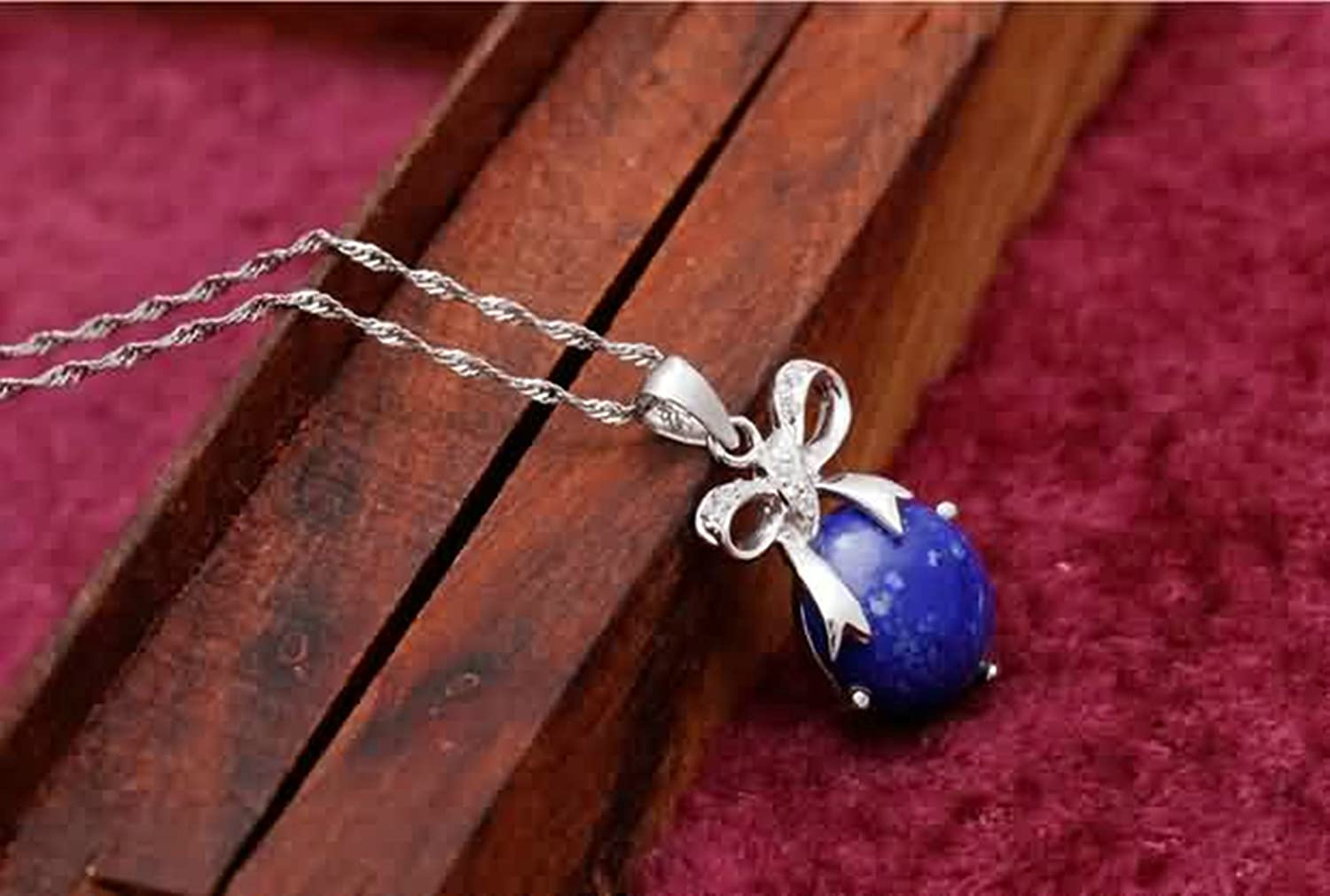 Aokarry Womens S925 Silver Pendant Necklace Bow with Ball White