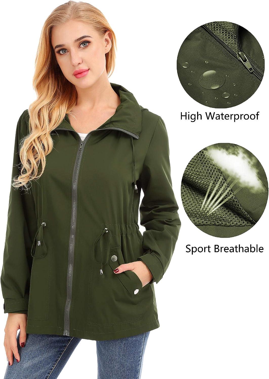 FISOUL Raincoats Womens Waterproof Lightweight Rain Jacket Outdoor Hooded Trench