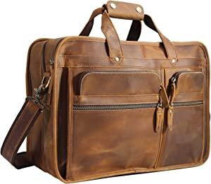 "Polare Modern Messenger Bag for Men 17"" Full Grain Leather Business Laptop Briefcase With Premium YKK Zippers"