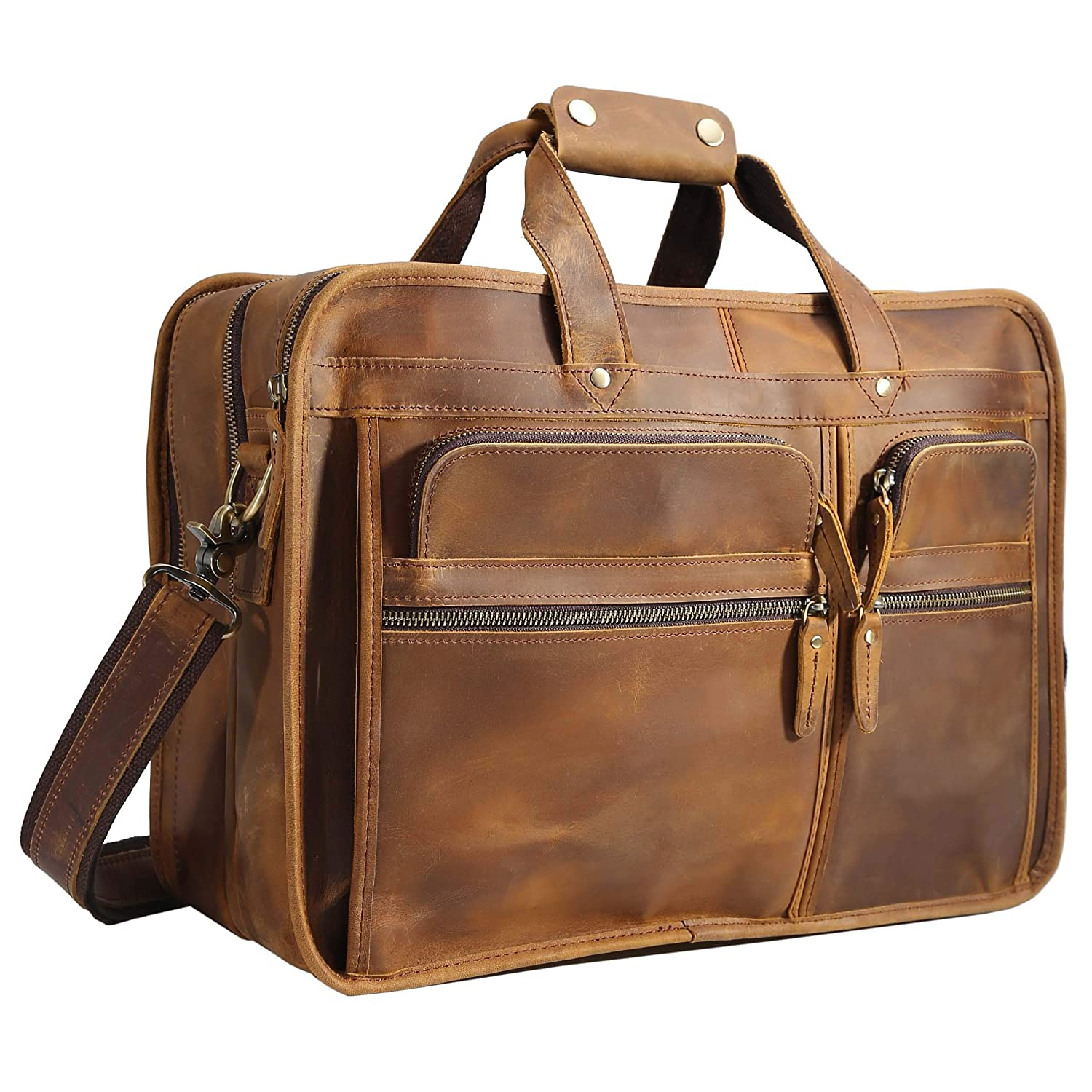 Polare Men's 17 Full Grain Leather Messenger Bag for Laptop Briefcase Tote