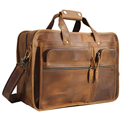 Image Unavailable. Image not available for. Color  Polare Men s 17 quot  Full  Grain Leather Messenger Bag for Laptop Briefcase Tote 84a377bbb95d7