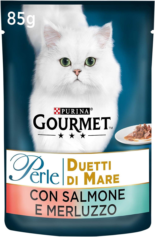 Purina Gourmet Perle Húmedo Gato Duetti di Mare con salmón y Bacalao, 24 Sobres de 85 g Cada una de Las 24 Unidades de 85 g