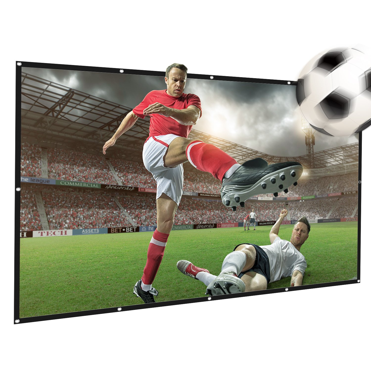120 inch Projection Screen, Foldable Portable Projector Movies Screen, 16:9 HD Anti-Crease, Perfect Suit for Home Cinema Theater, Outdoor & Indoor Support Double Sided Projection, 2 lbs Only AwesomeWare DLRMB01