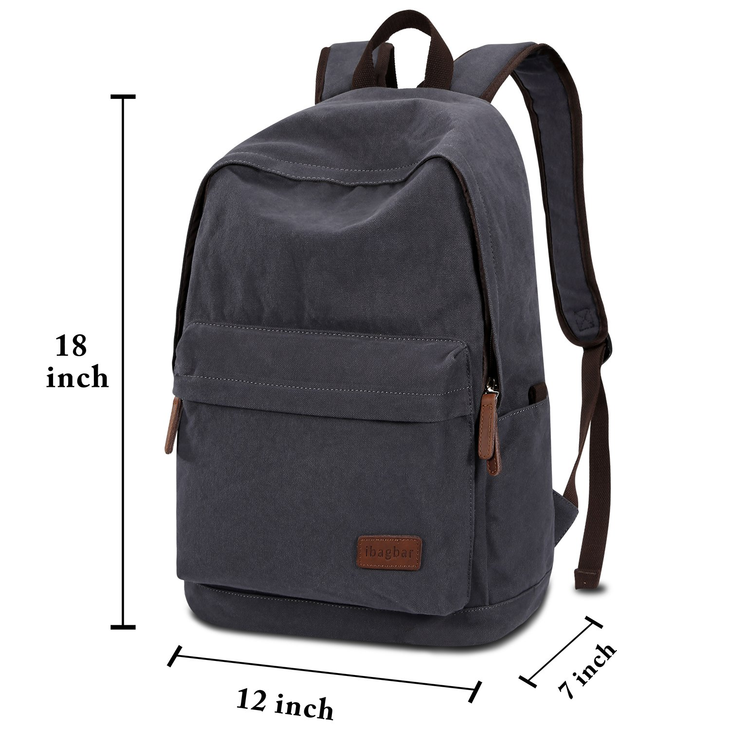 ibagbar Classic Lightweight Canvas Backpack Daypacks Dark Gray