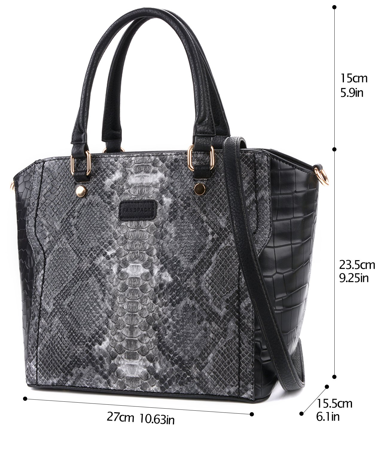 Handbags for Women, Fanspack Top Handle Satchel Handbags Boa Pattern PU Leather Tote Bag Crossbody Shoulder Bag Purse by Fanspack (Image #3)