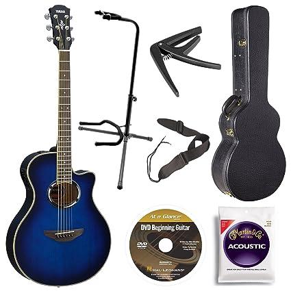 Yamaha apx500iii OBB acústica/eléctrica Cutaway Guitarra, Oriental Azul Burst Bundle con funda,