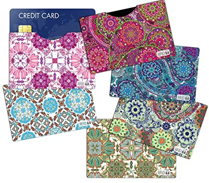 45d6091c53d4 (6) RFID Blocking Sleeves Credit Card Holder, Vera Bradley Inspired to  Protect Your Identity from Theft (Variety 2)