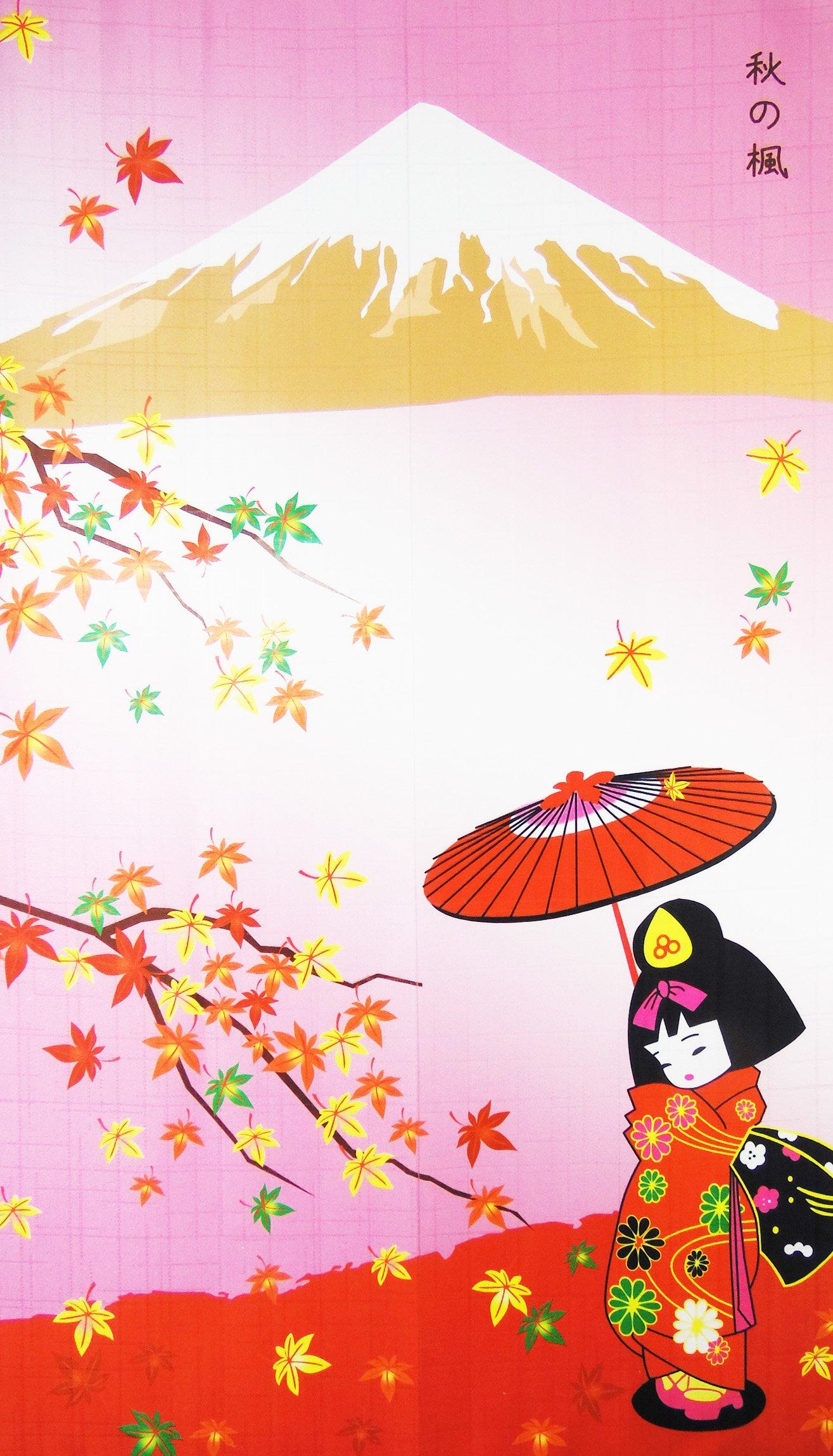 Kawaii Girl Maple-leaf Romantic Fall Landscape Pattern Door Curtain Japanese Noren Curtain Bedroom Curtain by LifEast