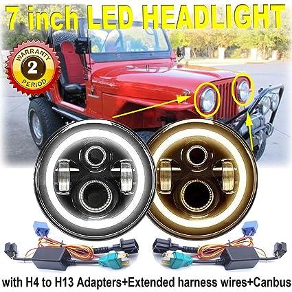led headlight with turn signal lights amber halo ring angel eye 7 inch  round sealed beam