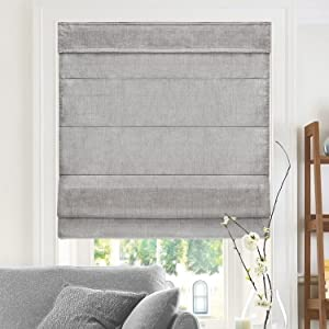 CHICOLOGY Cordless Roman Shades Modern Fabric Cascade Window Blind Treatment, 36