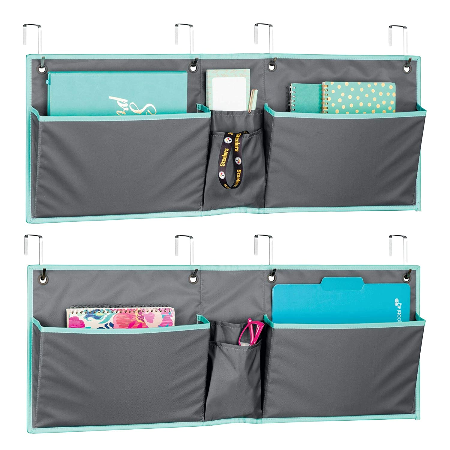 mDesign Soft Fabric Wide Over The Door Hanging Storage Organizer - 4 Pockets in 2 Sizes - Horizontal Office Center Home Office, Work Cubicle - Hooks Included, Pack of 2, Gray/Teal Blue MetroDecor 02361MDO