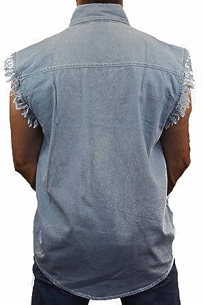 d40e90b53e3 SHORE TRENDZ Men s Sleeveless Denim Shirt Biker Vest 2 Front Pockets ...