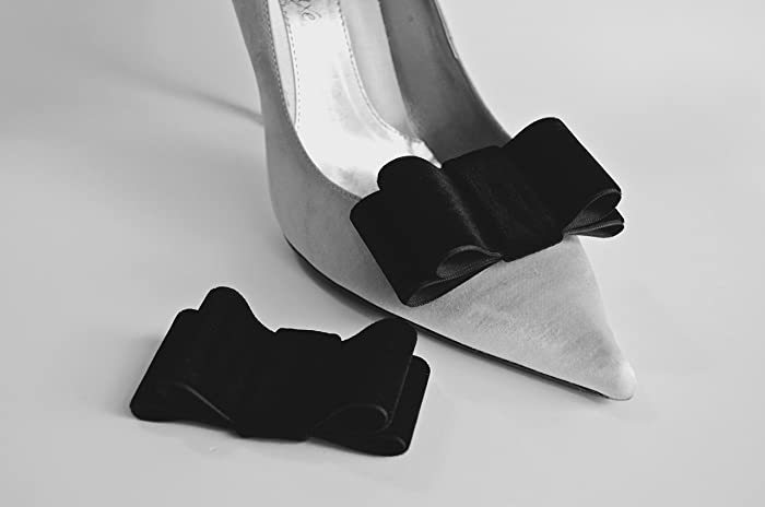 443675556b608 Amazon.com: Detachable Black Velvet Bow Shoe Clips Front Set of 2 ...