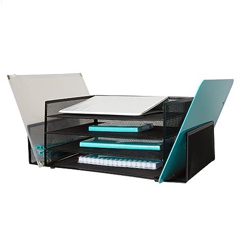 4 bandeja bandeja de papel de oficina organizador de escritorio negro con 2 bandejas laterales –