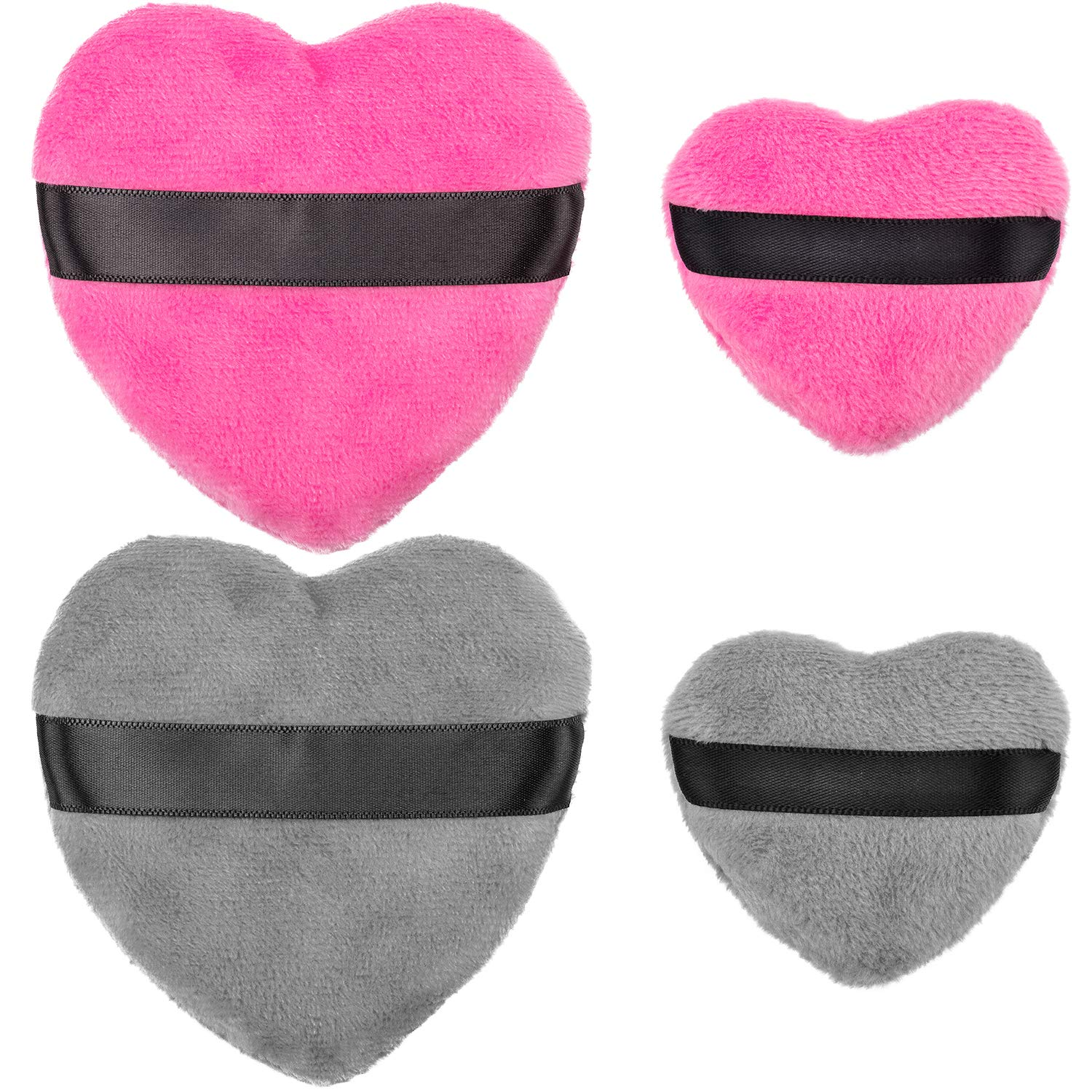 OIIKI 4PCS Makeup Blendiful Puffs, Cotton Powder Puff, Makeup Tool Beauty Sponges Blender Cleanser, in Love Shape with Strap, for Cosmetic (2PCS Gray+2PCS Rose)