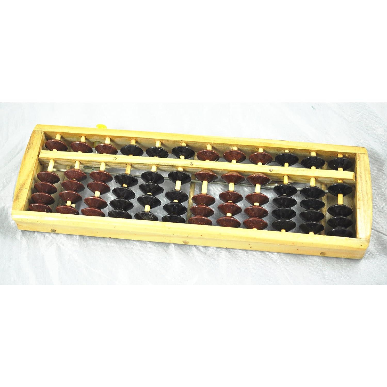 SODIAL(R) Abaco Soroban de Madera para Calculo, Cuentas de Color Marron Negro