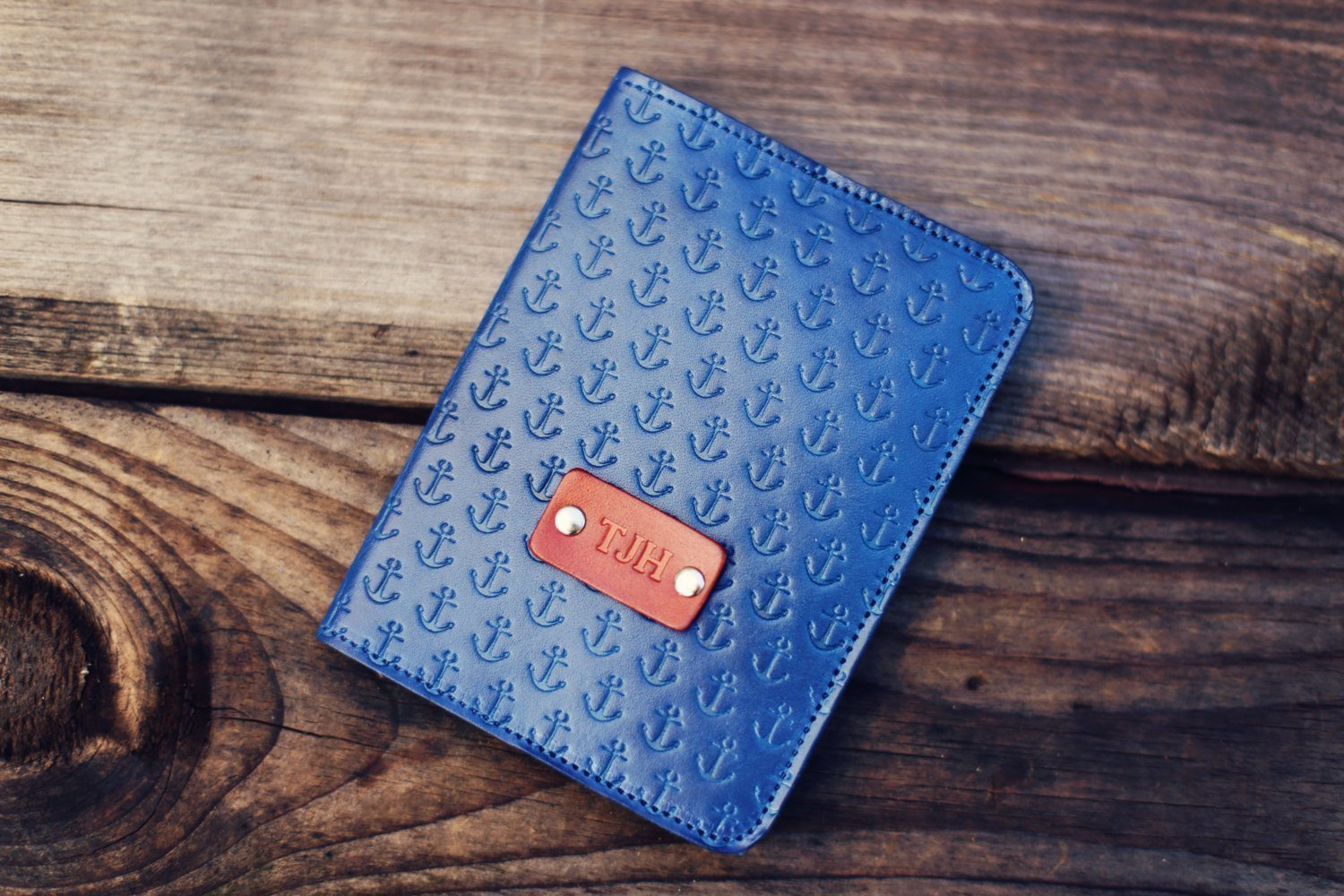 Personalized Leather Passport Cover, Real Leather, nautical, holder, wanderlust, travel, Anchor pattern Passport Cover, handmade, Custom text, name initials