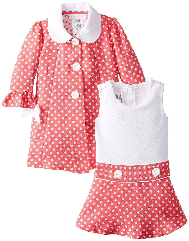 6ba182887c5b8 Amazon.com: Bonnie Jean Little Girls' Easter Dress Coral Dot Coat Dress 2T:  Clothing