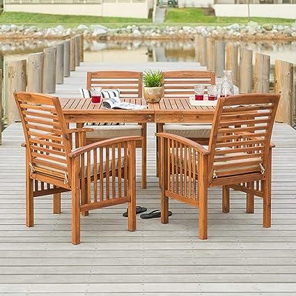 Amazon Com Overstock 5 Piece Acacia Outdoor Dining Set Brown
