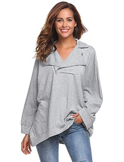 Zipper Sweatshirt Casual Long Sleeve Turn Down Collar Pullover Tops