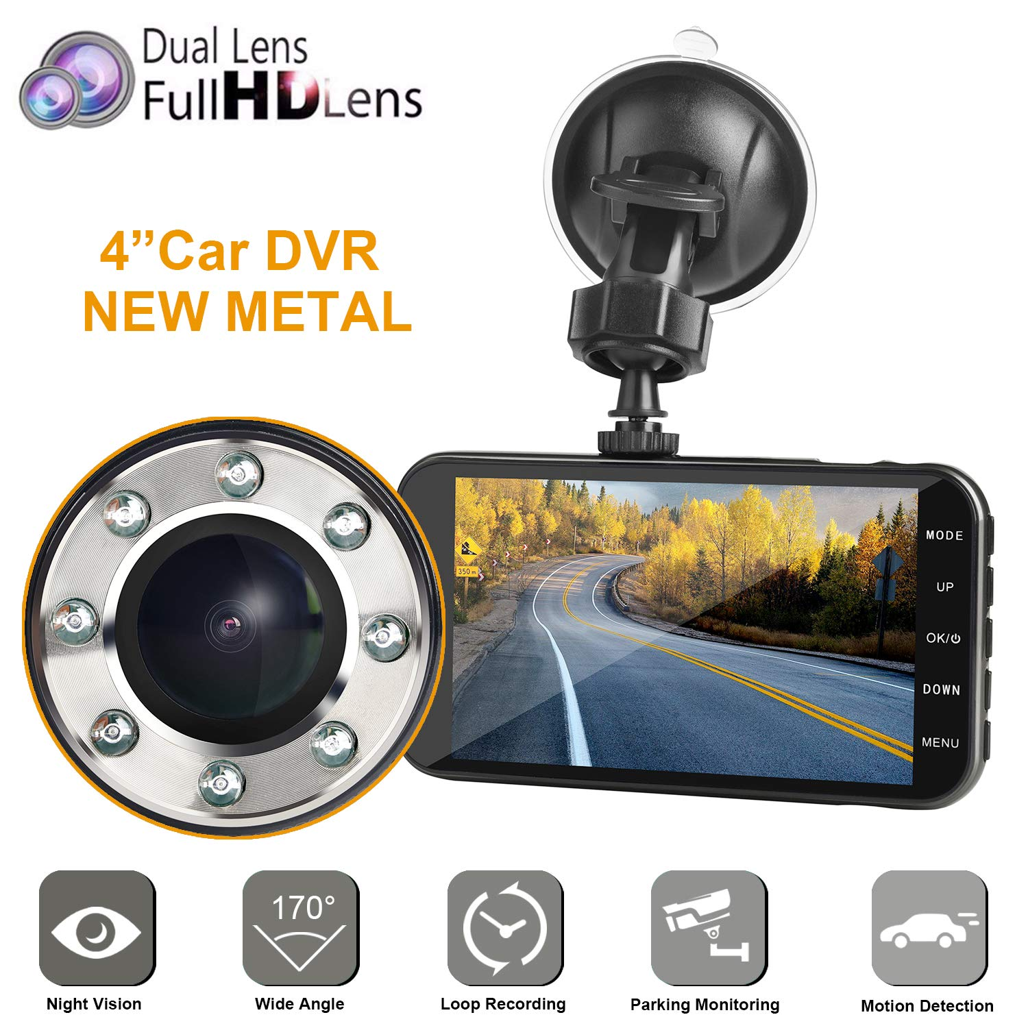 Dual Dash car cam, MI Yang FHD 1080P Camera Front and Rear with Night Vision,2 Channel 310° Wide Angle Lens 4'' Screen Dashboard cam, G-Senor, Parking Monitor,Motion Detection.for Trucks Driver by miyuog
