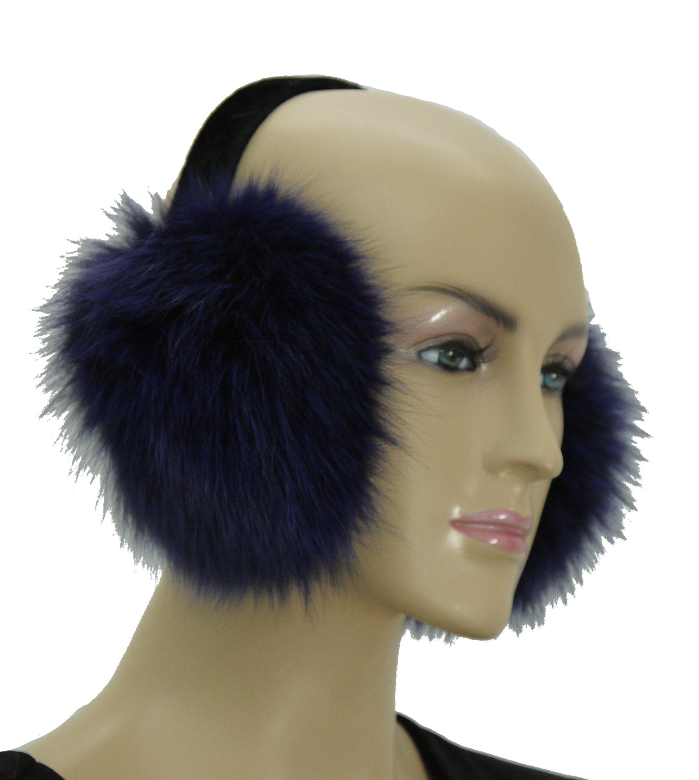 Fox Fur Earmuff - Navy Blue (Navy)