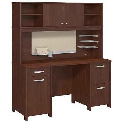 Bush Furniture Envoy Office Desk With Hutch And 2 Pedestals In Hansen Cherry