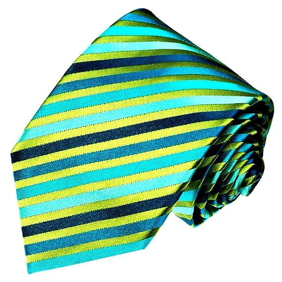 LORENZO CANA - Verde Turquesa a rayas Diseñador corbata - Corbata ...