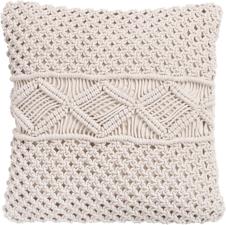 RAJRANG BRINGING RAJASTHAN TO YOU Handmade Macrame Cotton Cushion Covers Pillow Cover Boho Hand Woven Pillow Home Decor Pillowcase 18x18 inches