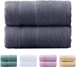 "JML Bamboo Bath Towels | 2 Piece Luxury Bath Towel Set for Bathroom(27""x54""), Soft and Absorbent, Odor Resistant Towels (Grey)"