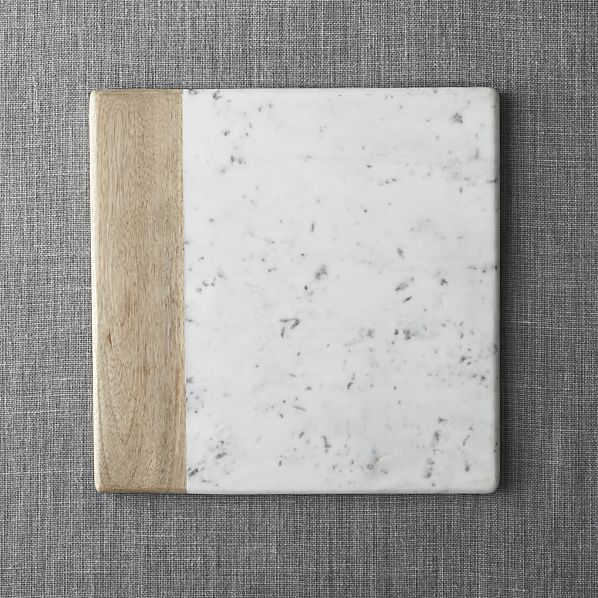 Wood-Marble Square Platter in Cheese Boards & Knives | Crate and Barrel