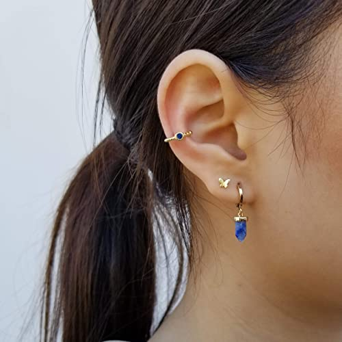 Stone Baby Blue Handmade Dangle Earrings