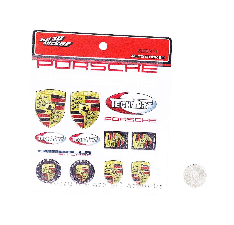 PORSCHE 3M Stick Sticker Double Sided Tape Emblem Badge Trunk Side Rear Front Logo Letters Emblems SET B