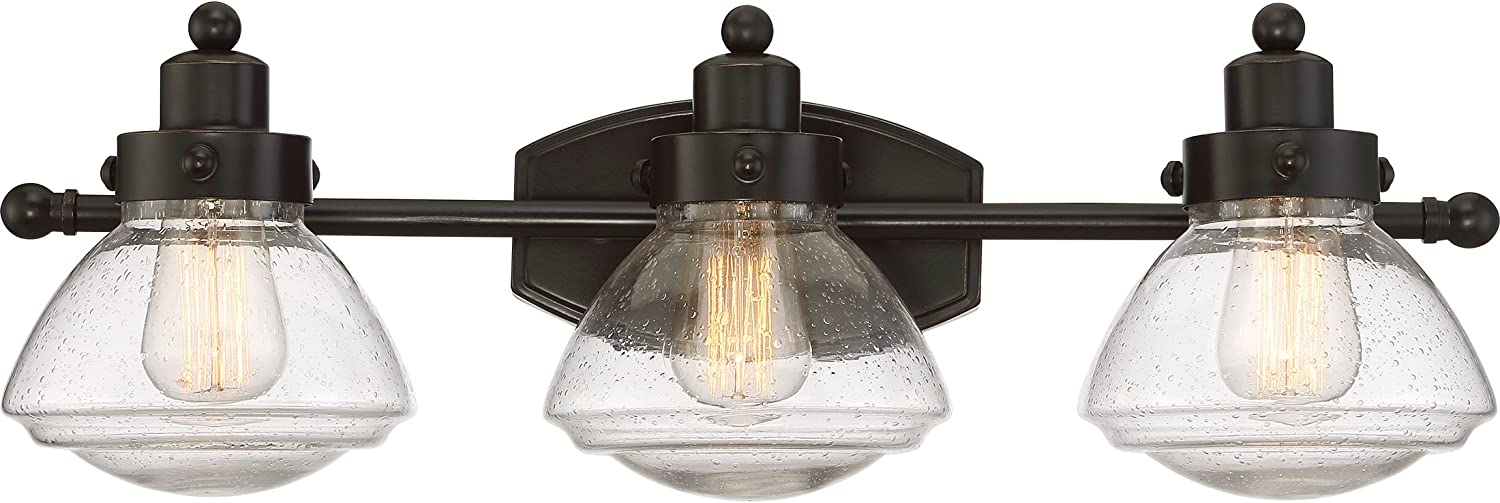 Quoizel SCH8603PN Scholar Glass Schoolhouse Vanity Wall Lighting, 3-Light, 300 Watts, Palladian Bronze 8 H x 25 W