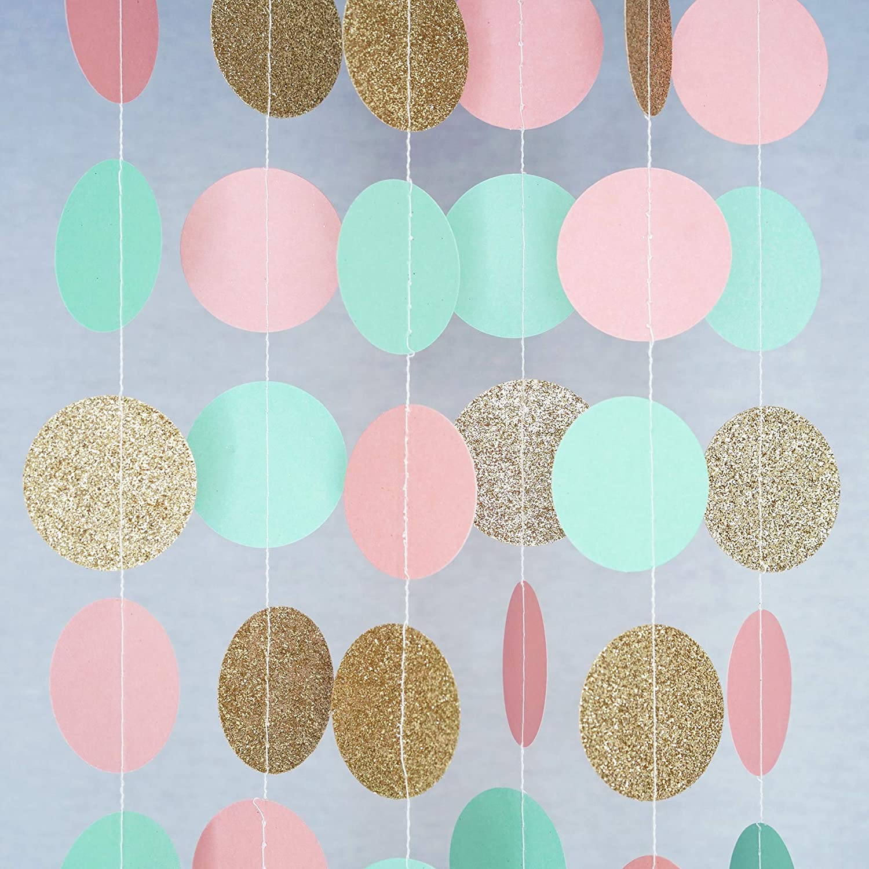 Chloe Elizabeth Circle Dots Paper Party Garland Streamer Backdrop (10 Feet Long) - Pink, Mint, Gold Glitter