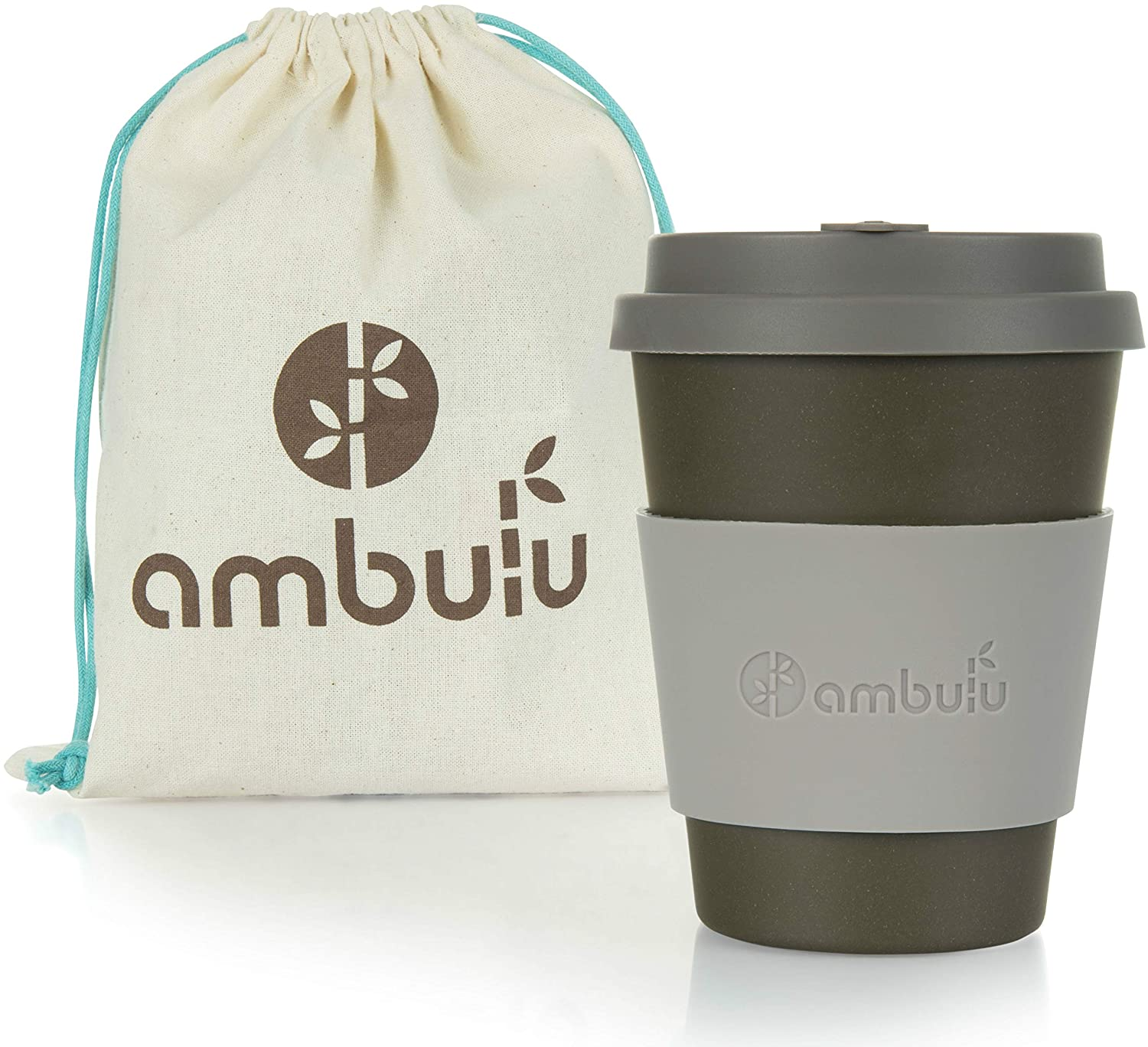 Ambulu Reusable Coffee Cup for Travel and Takeaway 350ml | Portable Bamboo Mug with Lid, 2 Sleeves, Carry Bag | Plastic and BPA Free | Dishwasher Safe Eco Cups 12oz