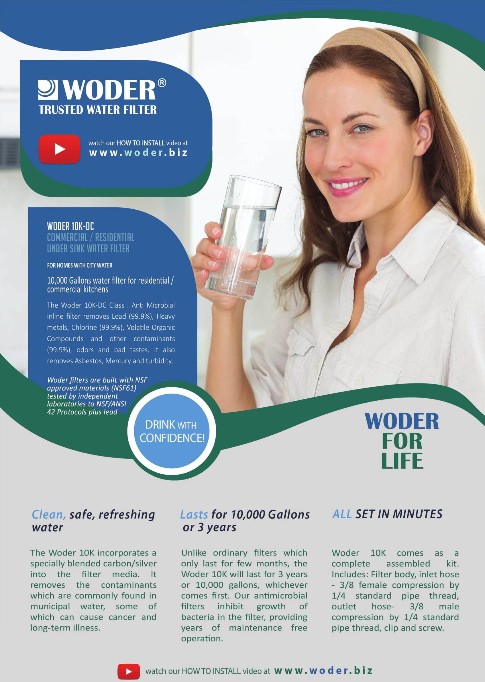 Woder 10K Ultra High Capacity Direct Connect Water Filtration System — Under Sink, Premium Class 1. Removes 99.99% of Contaminants for Safe, Fresh and Crisp Water, USA-Made by Woder (Image #5)