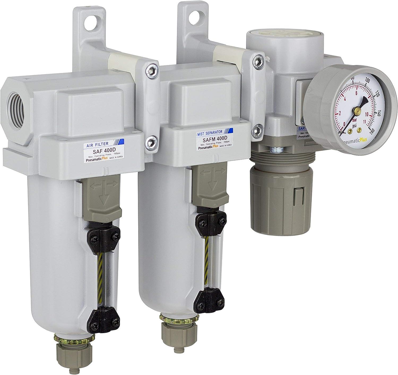 Metal Bowl Coalescing Filter Air Pressure Regulator Combo 1//2 NPT PneumaticPlus SAU430-N04G-MEP Three Stage Air Drying System Particulate Air Filter Bracket Manual Drain Gauge