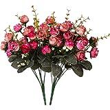 Houda - Bouquet di rose, fiori artificiali in seta, rami con boccioli, decorazione floreale per matrimonio, confezione da 2 Rose Coffee