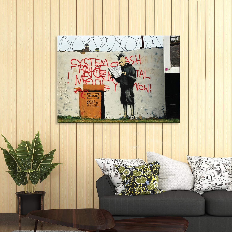 Cucina Vari Formati XXL Stampa su Tela Canvas Quadri Moderni arredo casa Design Giallobus Quadro gi/à intelaiato Banksy Pronto da Appendere 70x50 cm Ikea Box DIY