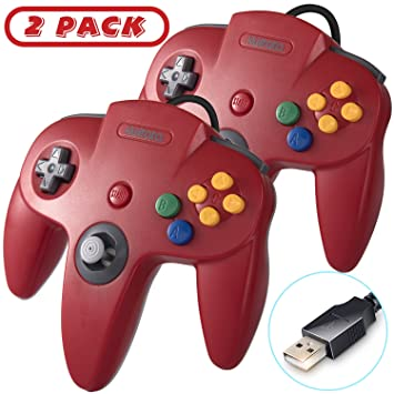 2 Pack Classic N64 USB Controller, kiwitatá Retro N64 Bit USB PC Wired Game  Controllers Joystick for Windows PC and Mac Linux Retro Pie Red