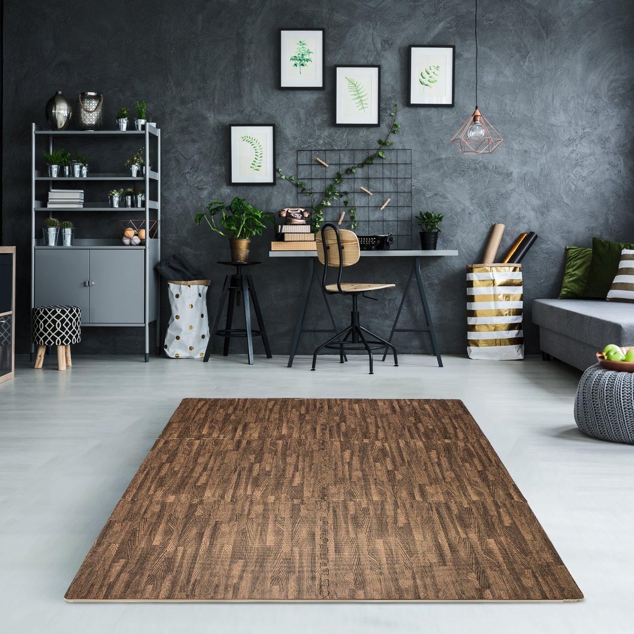 Sorbus Interlocking Floor Mat Print, Wood Grain - Dark (6-Piece) by Sorbus (Image #3)