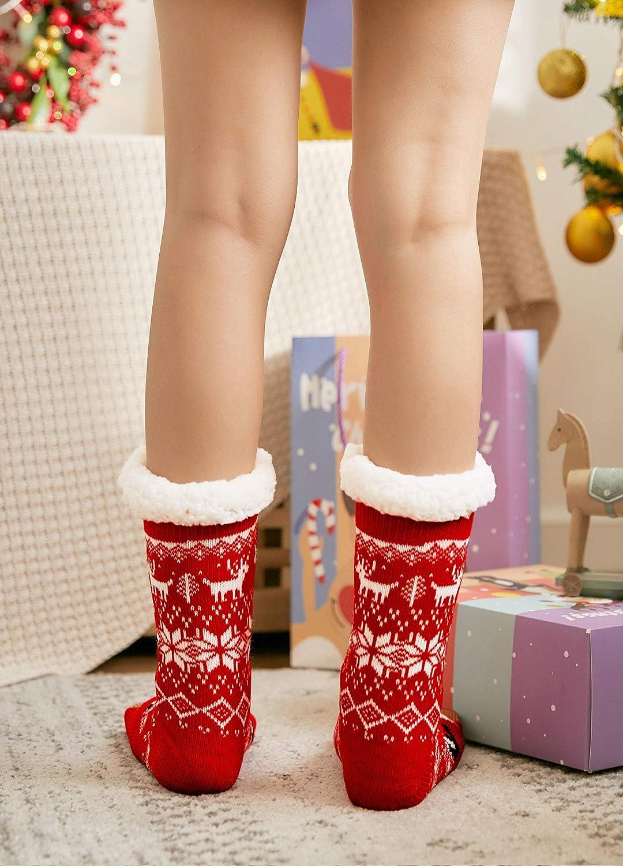 Damen ABS Socken H/üttensocken warme Wintersocken flauschig Thermo-Socken mit Innenfrottee PUTUO Damen Stoppersocken dicke Haussocken mit Anti Rutsch Sohle