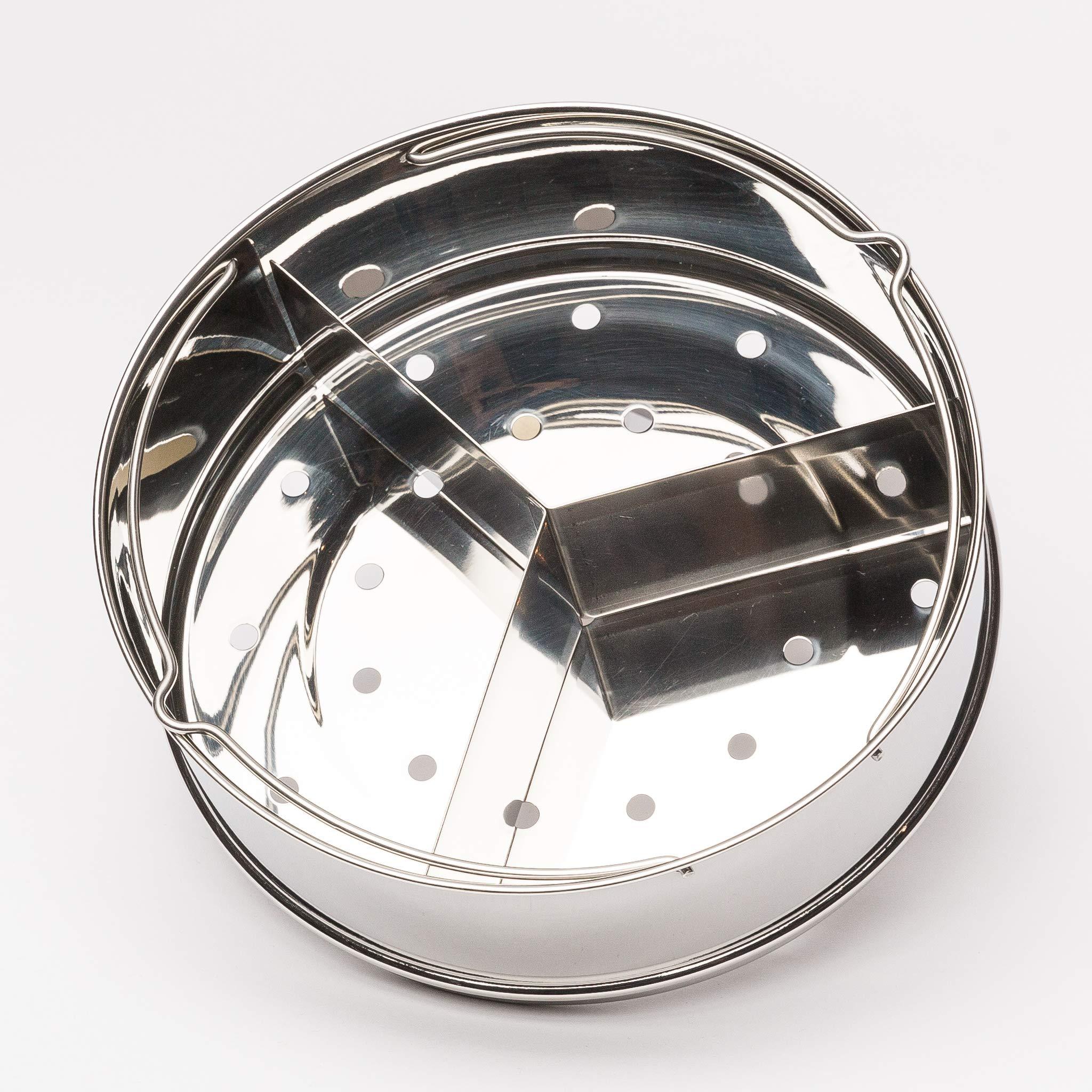 Steamer Basket, Pressure Cooker Accessories for Instant Pot, 6, 8 Qt - Food Steamer with Removable Divider, Egg Rack