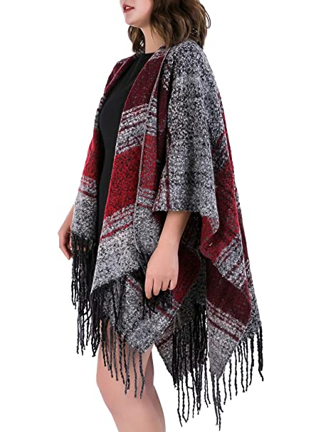 41b356cee Women's Boucle Shawl Wrap Open Front Poncho Cape (Color Block 02-Burgundy)  at Amazon Women's Clothing store: