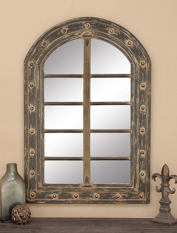 Jarr/ón de dise/ño moderno de TrendHome Deko de cristal de espejo en forma ovalada Modernos jarrones de sal/ón con borde de espejo y cristal transparente en el centro 40 x 28 cm.