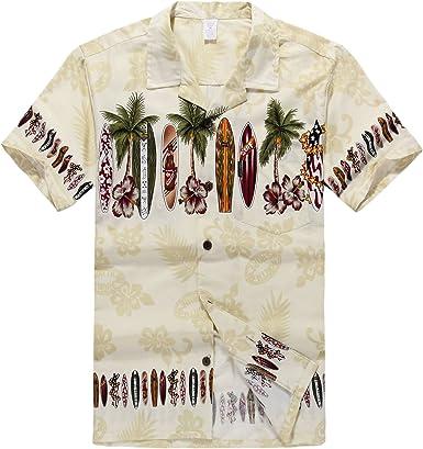 Hombres Aloha camisa hawaiana en Tabla de surf Cruz en crema: Amazon.es: Ropa y accesorios