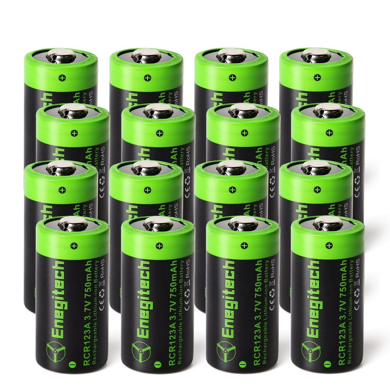 Enegitech 16 Pack CR123A Rechargeable Batteries 3.7V 750mAh RCR123A 16340 Li-ion Battery for Arlo Cameras, Flashlight, Security System